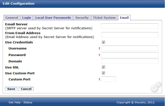 SMTP Authentication options in Secret Server