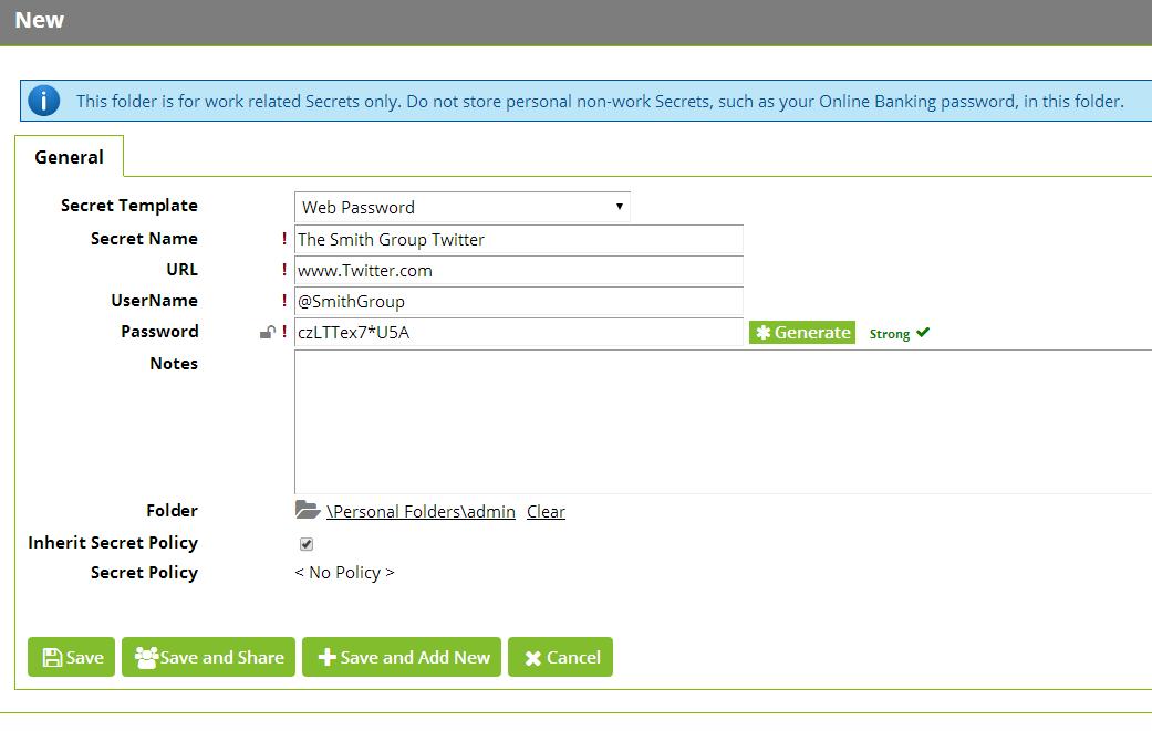 Secret Server Web Password Template